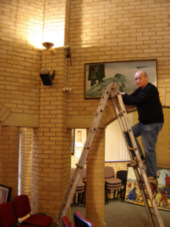 Beth Shalom Hanging the paintings, 2006